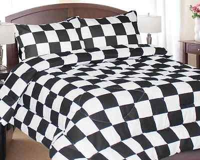 Queen Black And White Checkered Flag Comforter Racing