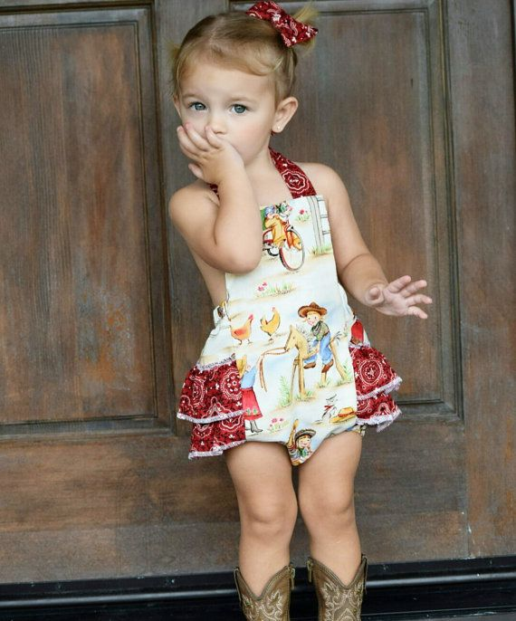 This western cowgirl ruffle romper is made to order! The cowgirl fabric make this outfit so unique, and perfect for the little lady in your