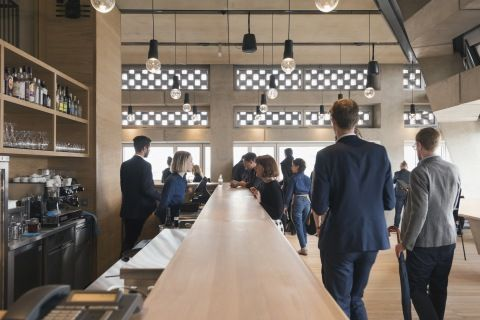 The restaurant at Tate Modern. Eat and drink while enjoying panoramic views of London's skyline