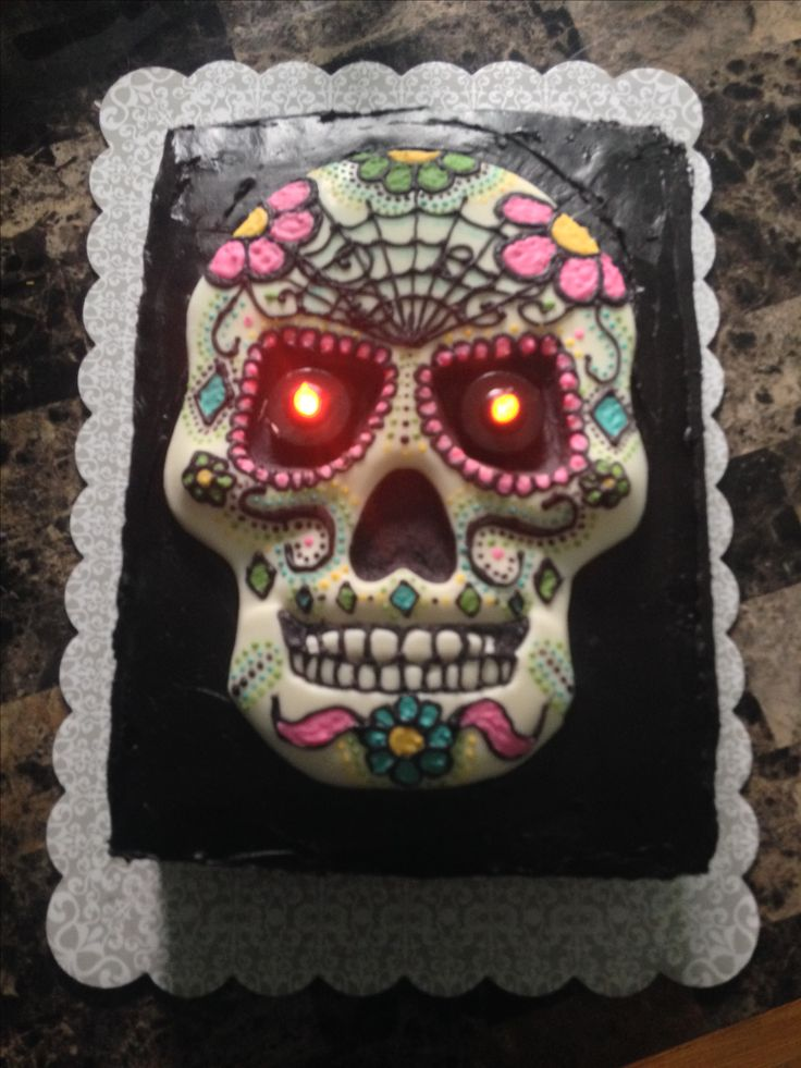 Chocolate Sugar skull cake! All handpainted with chocolate by me! @divascupcakes www.facebook.com/Cupcake.Diva12