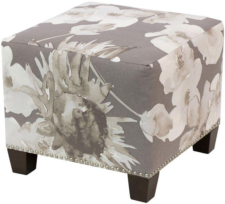 Skyline Furniture Square Nail Button Ottoman - floral decor