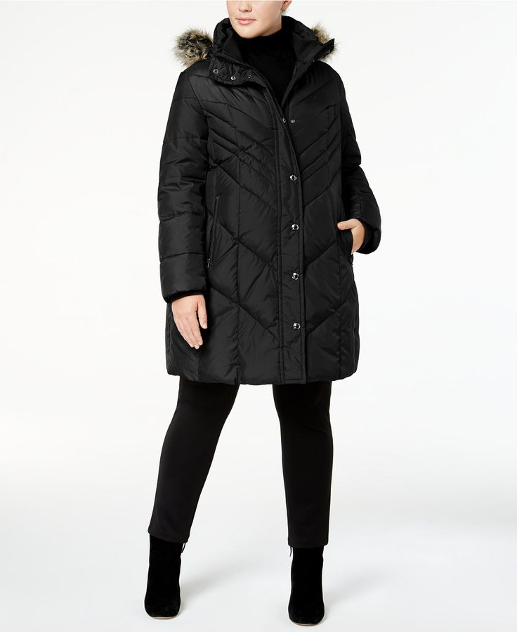 London Fog Plus Size Faux-Fur-Trim Down Puffer Coat - Winter Coats For Women - SLP - Macy's