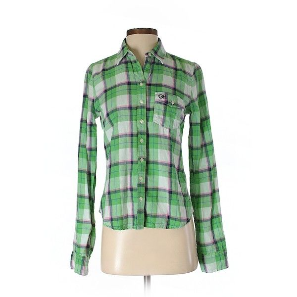 Gilly Hicks Long Sleeve Button Down Shirt (17 PAB) ❤ liked on Polyvore featuring tops, light green, long sleeve tops, green button up shirt, light green shirt, button down shirt and green top