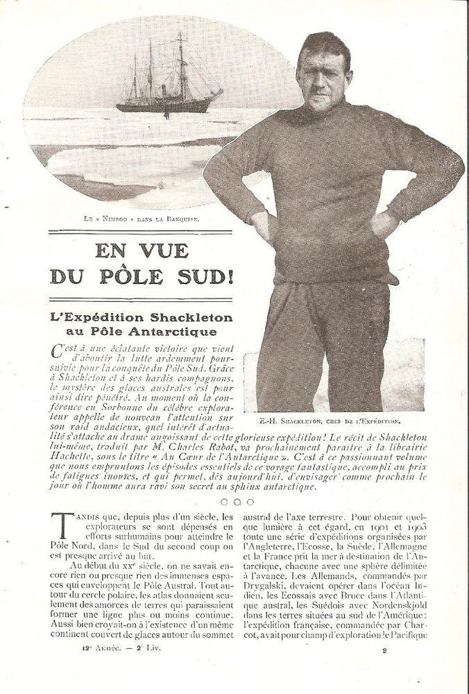 L' expédition Shackleton au Pôle Antarctique Pôle Sud - Coupure de Presse (1910)