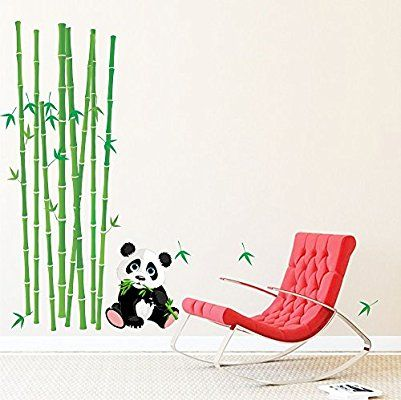 Buy Cute Baby Panda with Bamboo Sticks Wall Decal at Lowest Prices in India | Wall Art - SRG India   #bamboostick #walldecal #wallart #art #design #home #homedecor #room #kidsroom