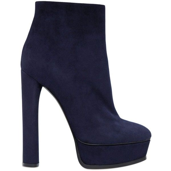 Casadei Women 140mm Suede Ankle Boots (306.785 HUF) ❤ liked on Polyvore featuring shoes, boots, ankle booties, navy, platform boots, short boots, platform ankle boots, navy suede boots and navy blue booties