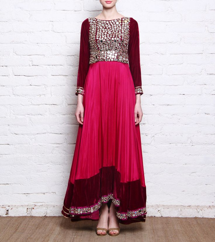 Red Pure & Velvet Gown With Mirror Work
