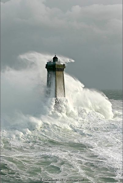 Lighthouse of Iroise.  Phare de la Vieille, raz de Sein. Photo Martinez.