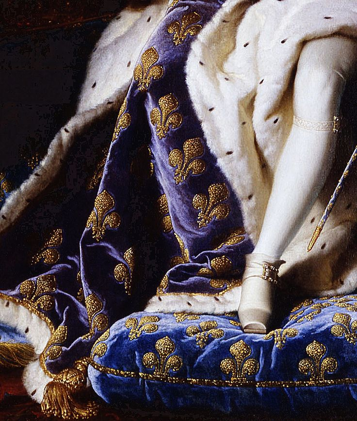 Portrait of Louis XV of France as a five-year-old King in the French coronation robes, 1715. (details)