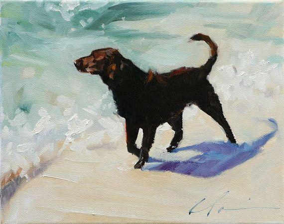 Brown Labrador Retriever Dog on the Beach by ClairHartmannFineArt, $185.00