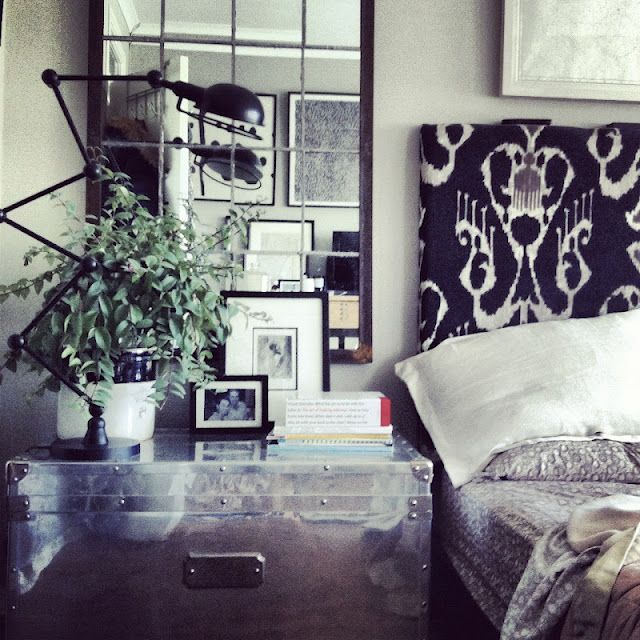 greige: interior design ideas and inspiration for the transitional home by christina fluegge: Ideas, At Home, Inspiration, Ikat Headboards, Metals, Interiors Design, Bedside Tables, Night Stands, Transitional Home
