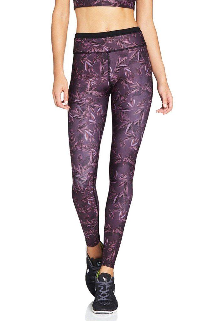 aadd5046fa Nimble Activewear Lauren 7/8 Tights in Burgundy Leaf   activewear ...