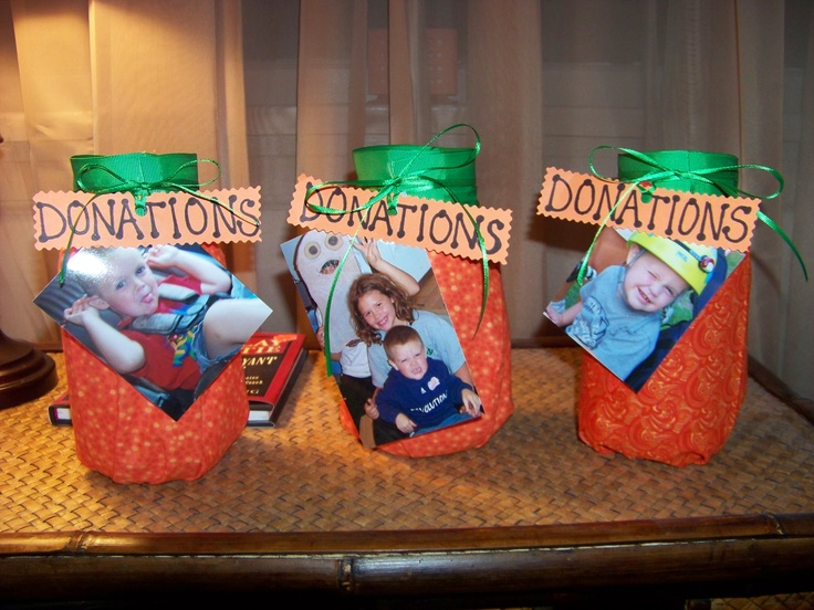 Donation jars made for upcoming fundraiser!!! So cute for fall!