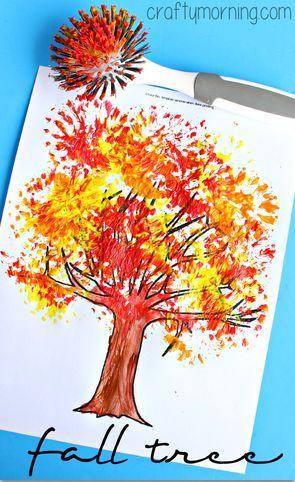 fall tree craft using dish brush