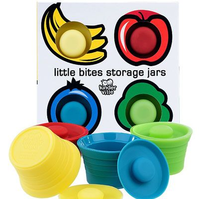 Kinderville - Little Bites Storage Jars (4pk) A safe and easy option for storing and heating your little one's edibles at home, daycare or on-the-go! (Bye bye ubiquitous plastic! Unlike plastic, little bites storage jars are bacteria resistant and, most importantly, BPA, Phthalate and Lead free!)