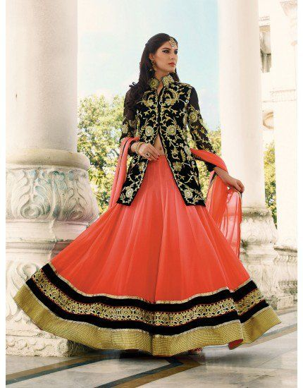 Orange and Peach Georgette Lehenga Choli with Resham Embroidery Work