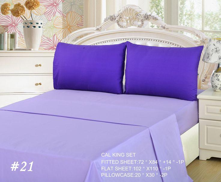 Tache 4 Piece Lavender Dream Dark Purple/ Light Purple Bed Sheet Set, California King