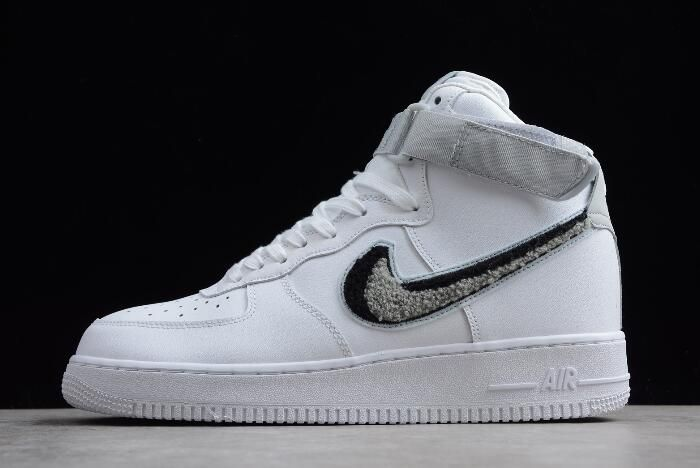 "89a6667f965d0e Nike Air Force 1 High  07 LV8 ""Chenille Swoosh"" White Pure  Platinum Black Wolf Grey 806403-105"