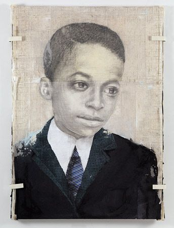 Louis Boudreault, Miles (2012) 72 x 48in (graphite, charcoal, pastel, gouache, paper collage/on board)