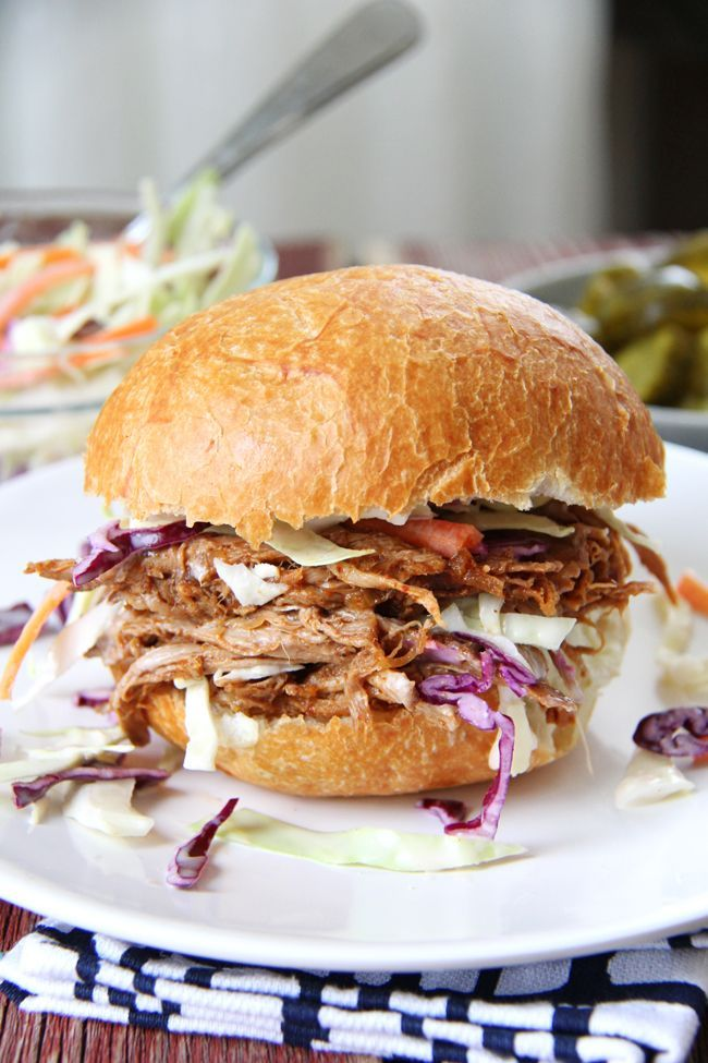 Oven Roasted Pulled Pork and Coleslaw Sandwiches {A Pretty Life}