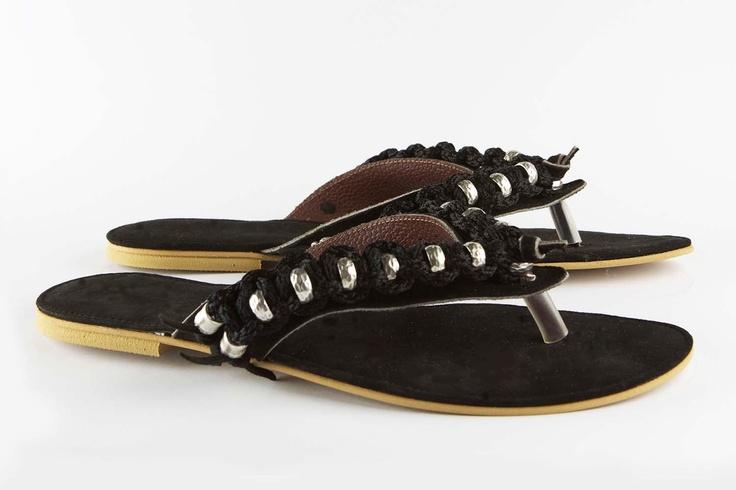Jeweled leather sandal Cruising - Black