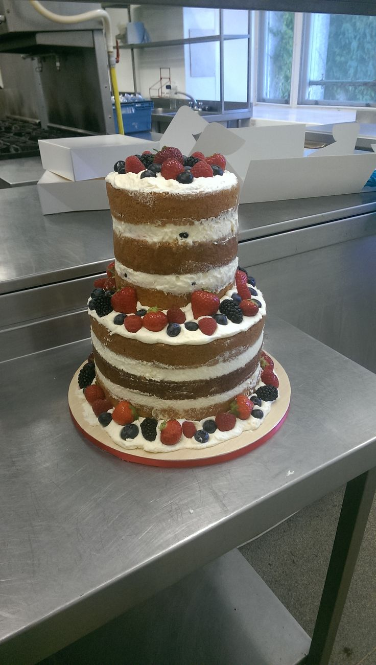 Naked Victoria sponge with fresh fruit Wedding cake