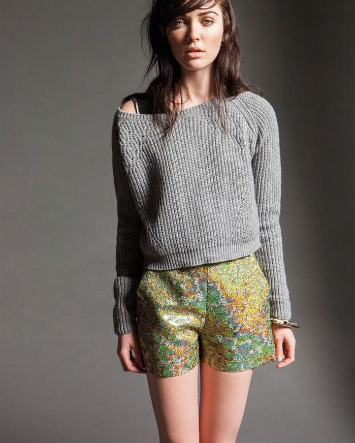 Naugthy dog FW15 cachemere pull and lurex jaquard shorts