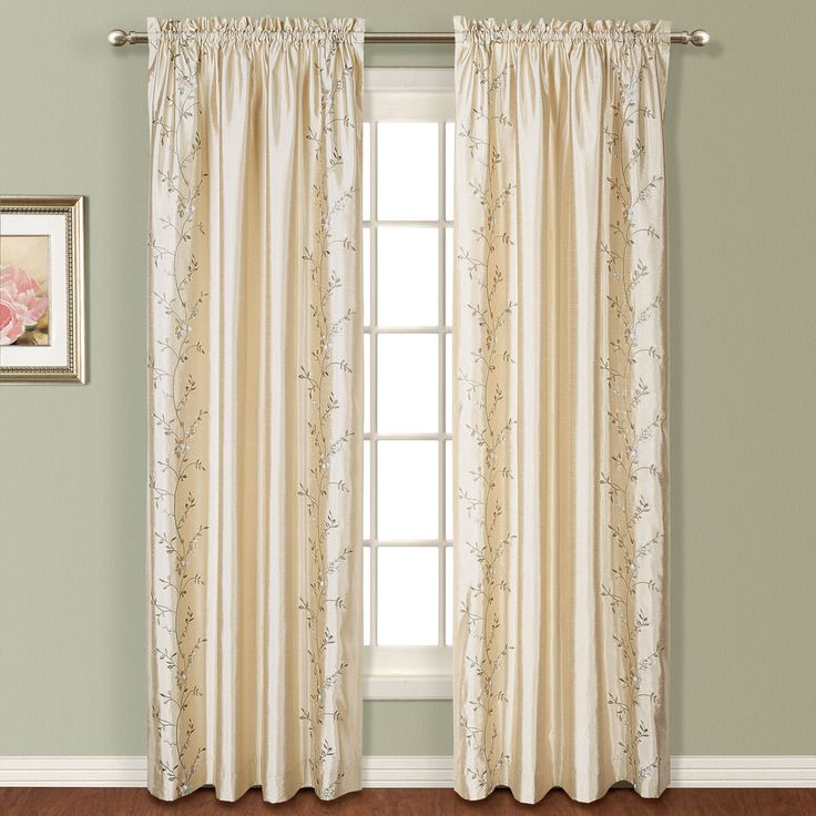 Details about Luxury Collection Addison Embroidered Faux Silk Curtain Panel Pair