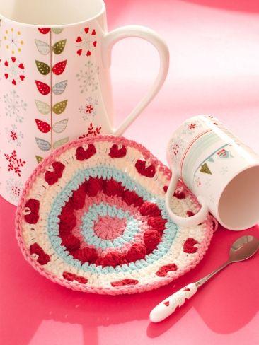 Be My Valentine Dishcloth free pattern ༺✿ƬⱤღ http://www.pinterest.com/teretegui/✿༻