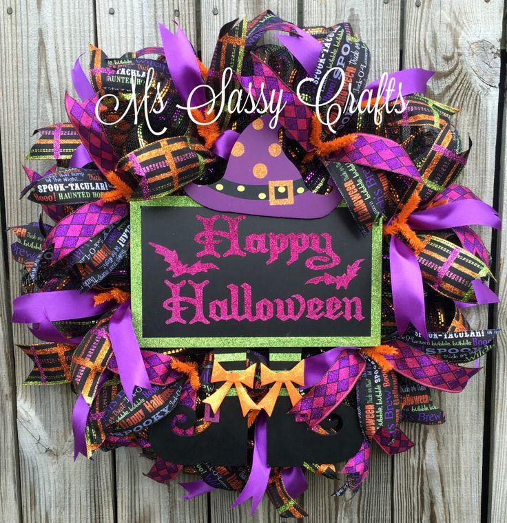 Ready to Ship! Halloween Wreath - Halloween Deco Mesh Wreath - Witch Wreath - Witch Deco Mesh Wreath - Happy Halloween Wreath by MsSassyCrafts on Etsy https://www.etsy.com/listing/245928368/ready-to-ship-halloween-wreath-halloween