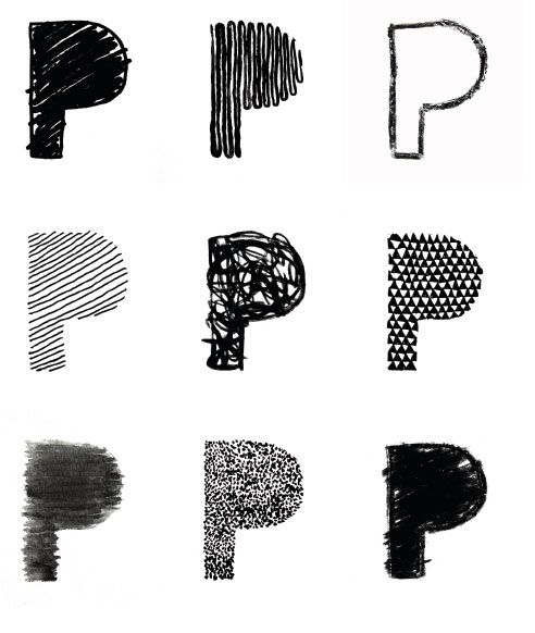 //Interesting use of mark making to create the 9 P's. Very useful for my Graphics research.