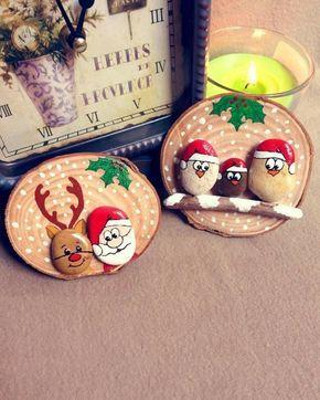 100 idées créatives de peinture sur galets pour Noël