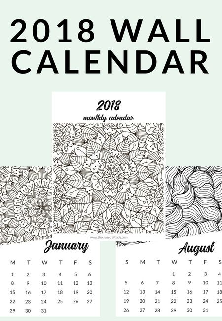 Free Printable 9 Adult Coloring Calendar | The Crazy Craft Lady ...