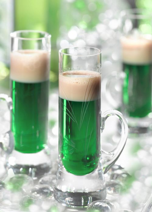 Green beer for st. patrick's day - put two drops of liquid green food coloring in the glass, add the beer, no stirring needed.