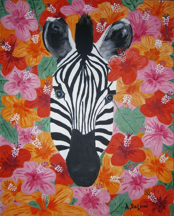 Alexandras craft and werk: Zebra & Hibiscus Acrylpainting