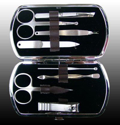 Manicure/pedicure Set Brief Case Clippers Tweezers Nail Care, Travel & Kit by BST. $1.95. Product Description  SET KIT CASE are portable size that you can take beauty on-the-go.  This kit contains basic tools you need for normal grooming, manicure or pedicure.  Suitable for travel and home use. A great gift for your friend on Christmas day, new year and other special days 100% satisfaction guaranteed!