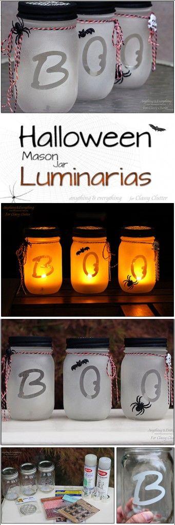 Halloween Mason Jar Luminarias - SO cute!