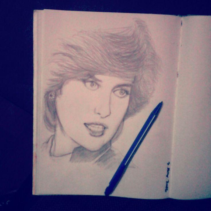 Princess Diana pencil portrait
