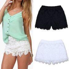 De Moda Para Dama Elástico Shorts Talle Alto Encaje Pantalones Cortos