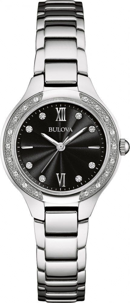 @bulova Watch Diamond Ladies #add-content #bezel-diamond #bracelet-strap-steel #brand-bulova #case-depth-7mm #case-material-steel #case-width-28mm #delivery-timescale-1-2-weeks #dial-colour-black #fashion #gender-ladies #movement-quartz-battery #new-product-yes #official-stockist-for-bulova-watches #packaging-bulova-watch-packaging #style-dress #subcat-diamond #supplier-model-no-96w207 #warranty-bulova-official-3-year-guarantee #water-resistant-30m