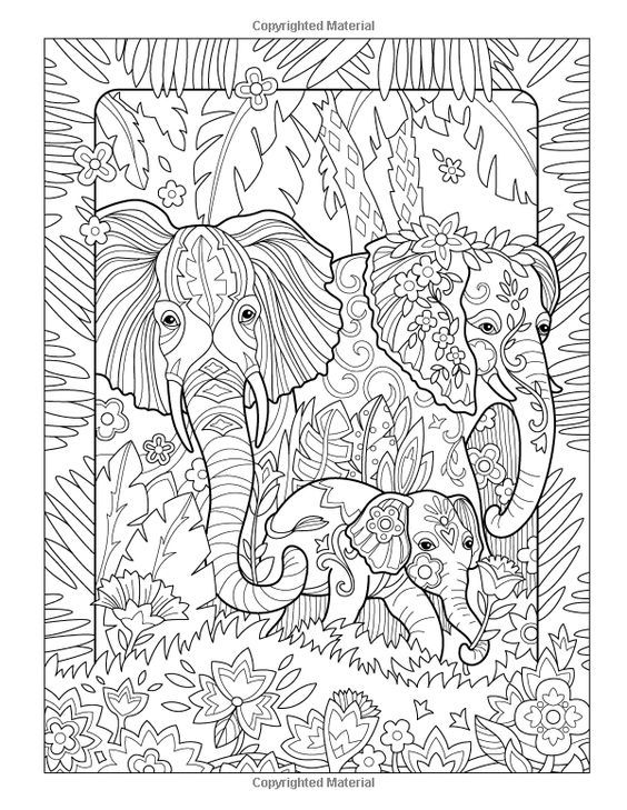 Amazon.com: The Art of Marjorie Sarnat: Elegant Elephants Adult Coloring book…: