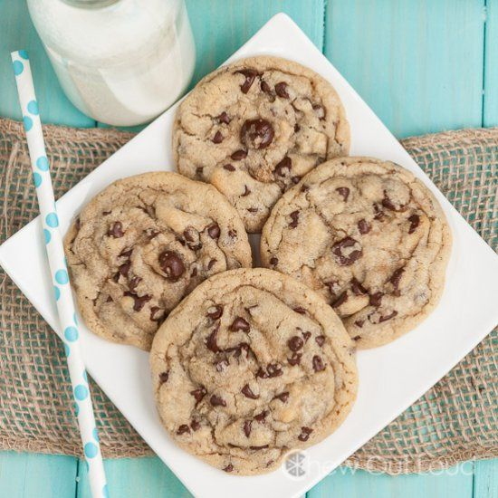Thick and Chewy Chocolate Chip Cookies.  Bakery Style.  Don't pay a buck per cookie when it's easy to make your own bakery style batch.