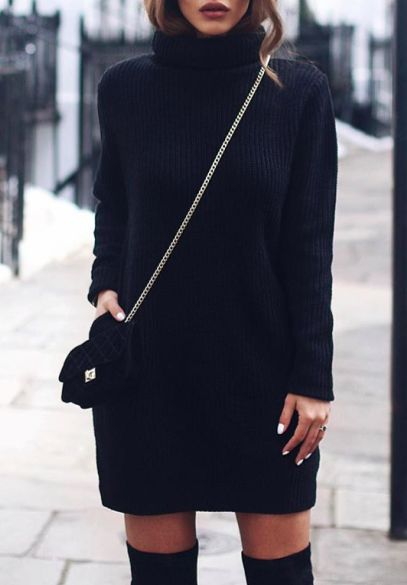 turtleneck dress + over the knee boots