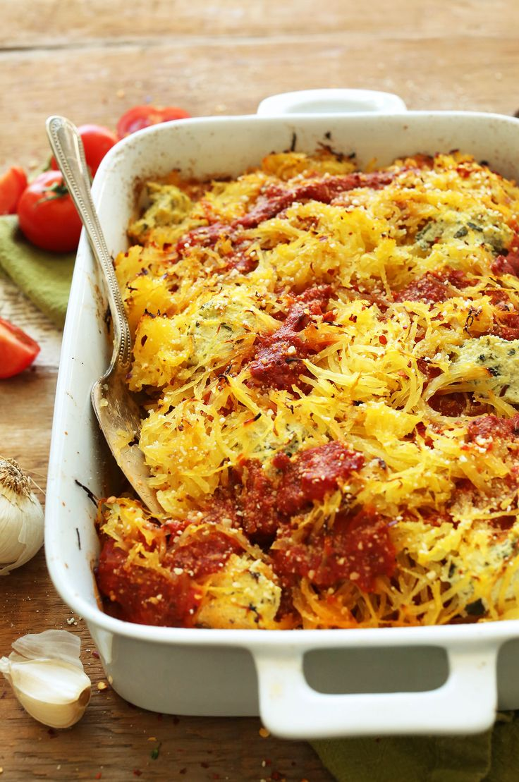 HEALTHY Spaghetti Squash Lasagna Bake! 10 ingredients, plant-based, SO delicious!