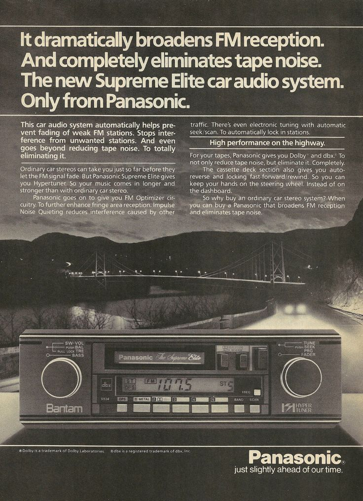 1984 Panasonic Supreme Elite Car Audio System Vintage Print Ad