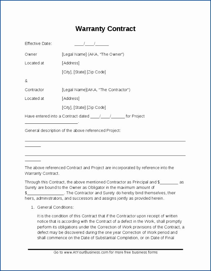 Warranty Agreement Template Free Awesome Personal Loan