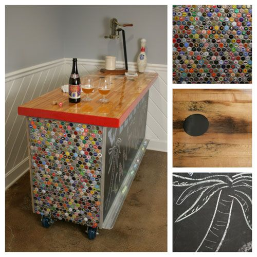 Great recycled bar with a bowling lane top, chalkboard front, and tiled bottle caps on the side.