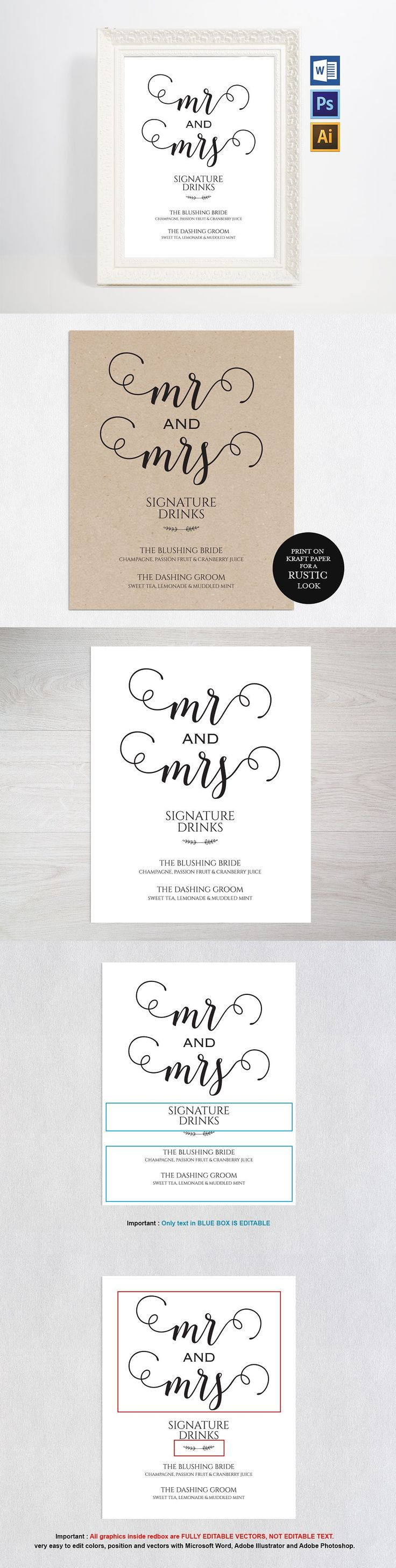 Signature Drink Sign Wpc77 Templates EPS, AI, PSD