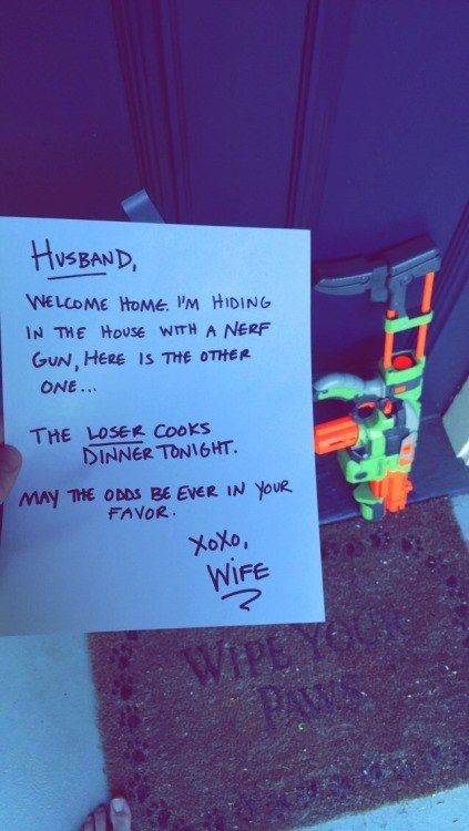 haha i love this! Matt gets home too late but maybe on a weekend when he runs out. This is so something I would do!