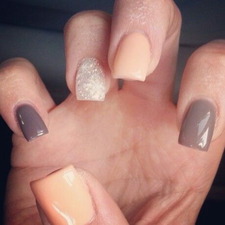 Christine at Pink Polish Nail Salon in Chandler AZ did it again. . Another amazing job . Live this lady.. warm Neutral nails for the new year.. dark brown. . Coral. . White glitter.. Multi Color And design.. Simple Elegant and chic. .